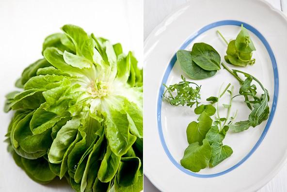 (Deutsch) Frühlingssalat [grün] mit frisch gerösteten Paprika-Salz-Mandeln